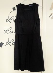 Linen blend A line black dress